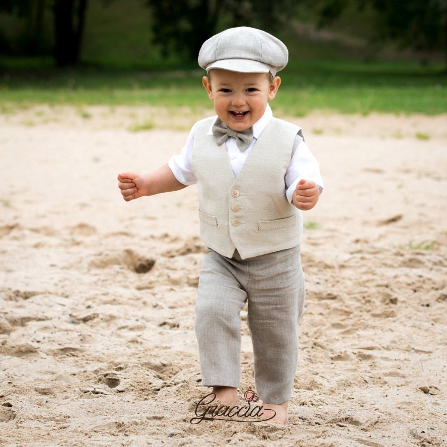 Toddler Newsboy Outfit Baby Boy Natural Linen Vest Pants Hat Shirt Rustic Wedding Ring Bearer Suit Baptism Tuxedo Page Clothes