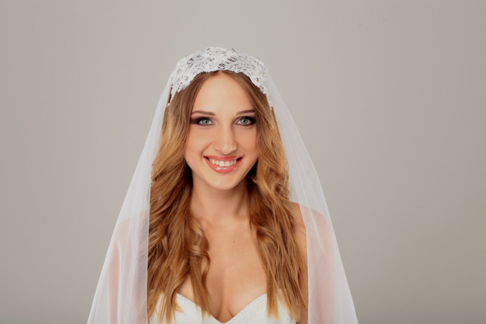 Wedding Veil & White Beaded Lace Wedding Headpiece, Bridal Headpiece, Bridal Fascinator, Long Cathedral Veil With Something Blue