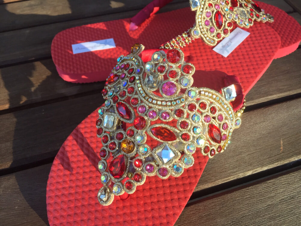 Red Gold Bridal Flip Flops, Ethnic Sandals, Jewel Wedding Shoes Size 5/6 Ready To Ship