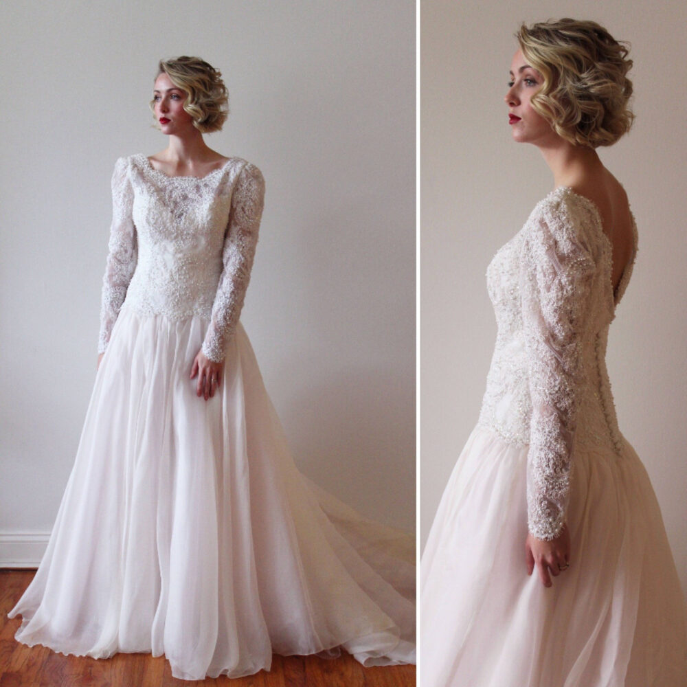 Vintage 1980S Long Sleeved Wedding Gown With Blush Pink Skirt