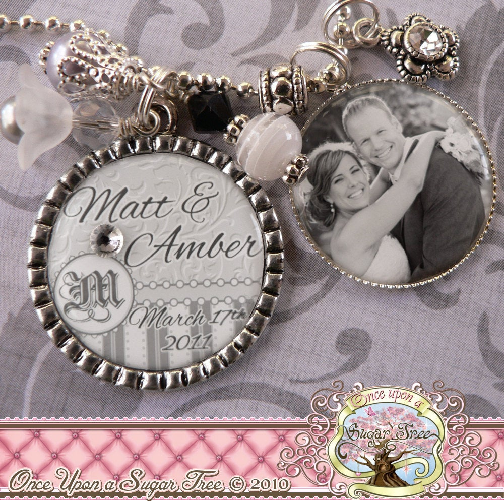 Personalized Wedding Bezel Necklace With Photograph, Bridal Engagement, Bottle Cap, Initial, Bridesmaids Gifts, Wedding, Shower