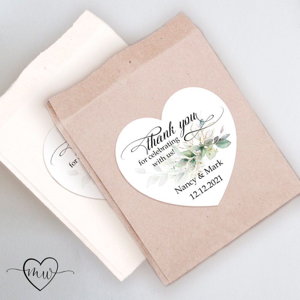 Greenery Wedding Favor Stickers Custom Labels Thank You Sticker Personalized Favors #barbara