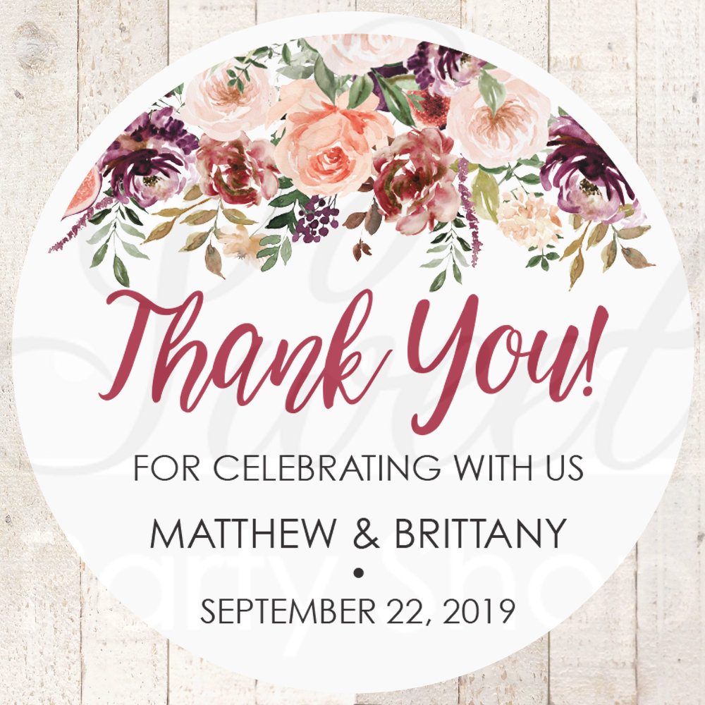 Wedding Favor Stickers, Thank You Sticker Labels, Bridal Shower Favors Fall Floral - Set Of 24 Stickers