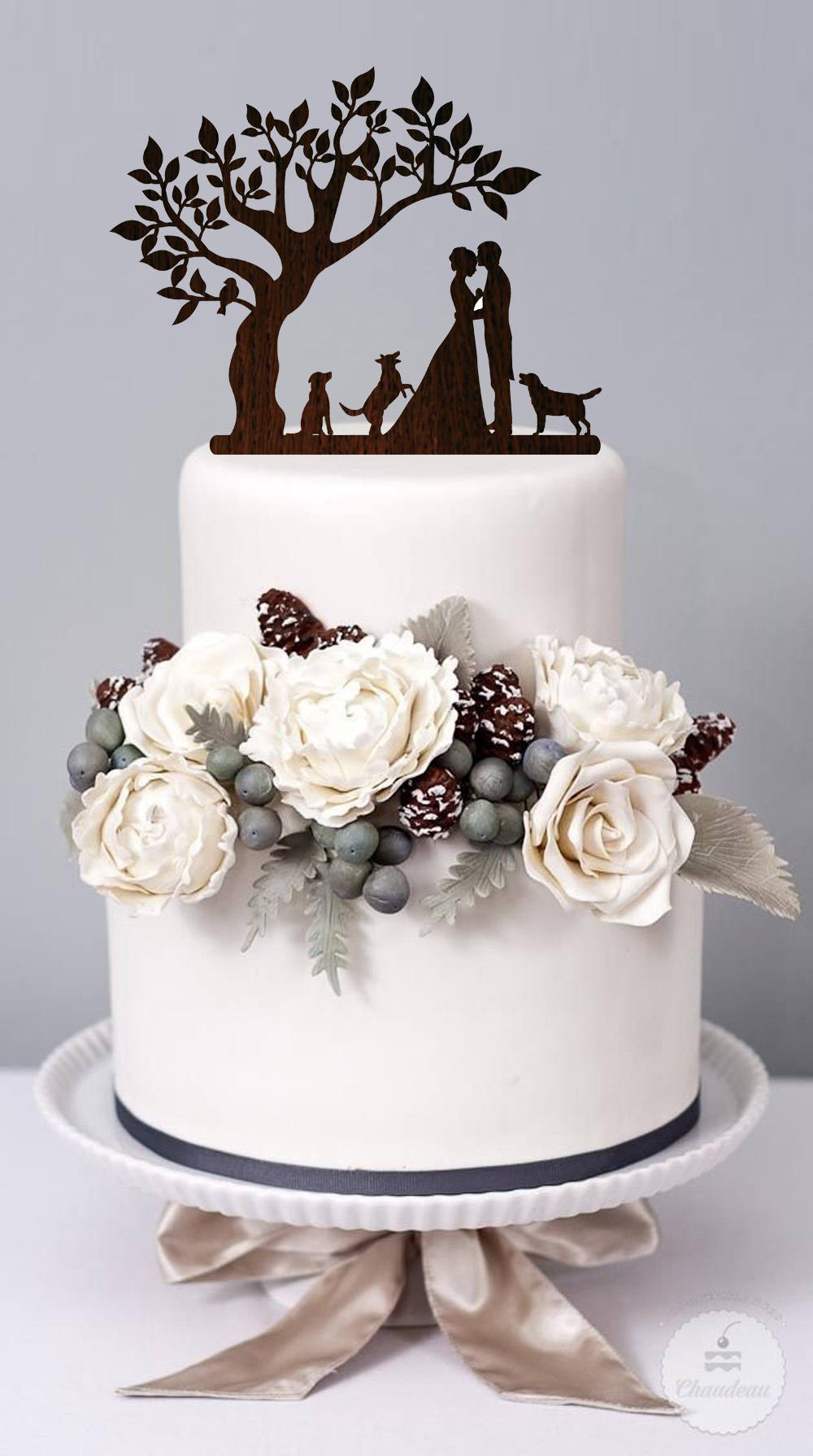 Wedding Cake Topper With Dog Couple Silhouette Cake Topper Rustic Personalized Wood Mr & Mrs