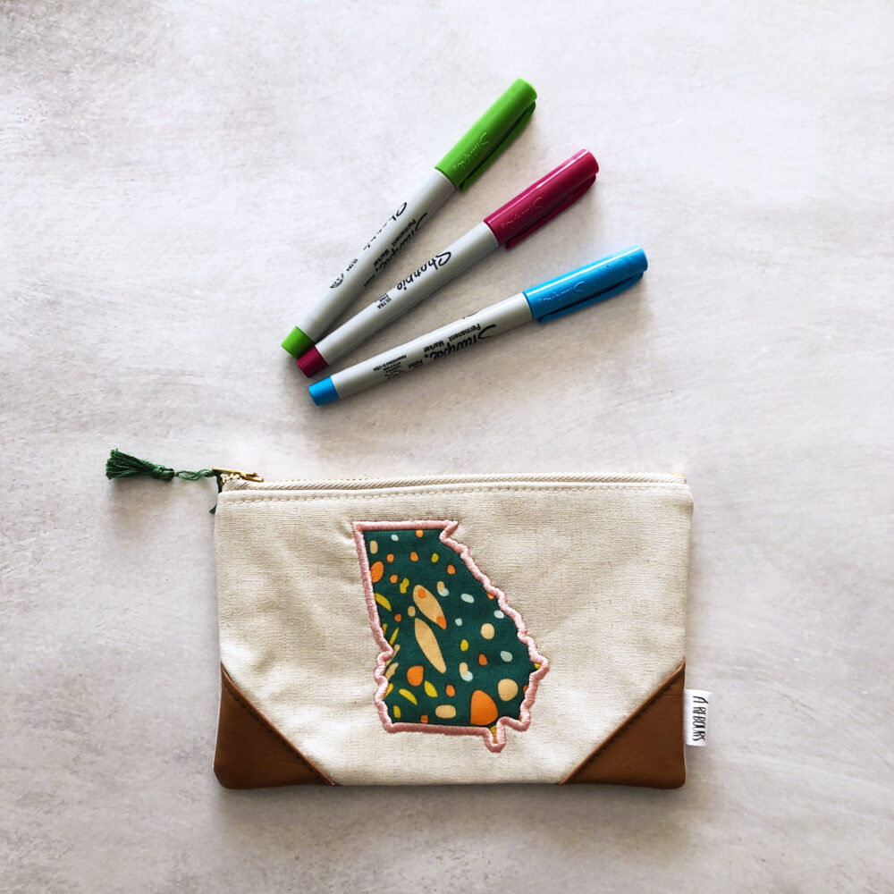 Georgia Embroidered Bag, Makeup Clutch, Toiletry Zipper Pouch, Handmade, Custom, Made To Order, Floral, State Bag