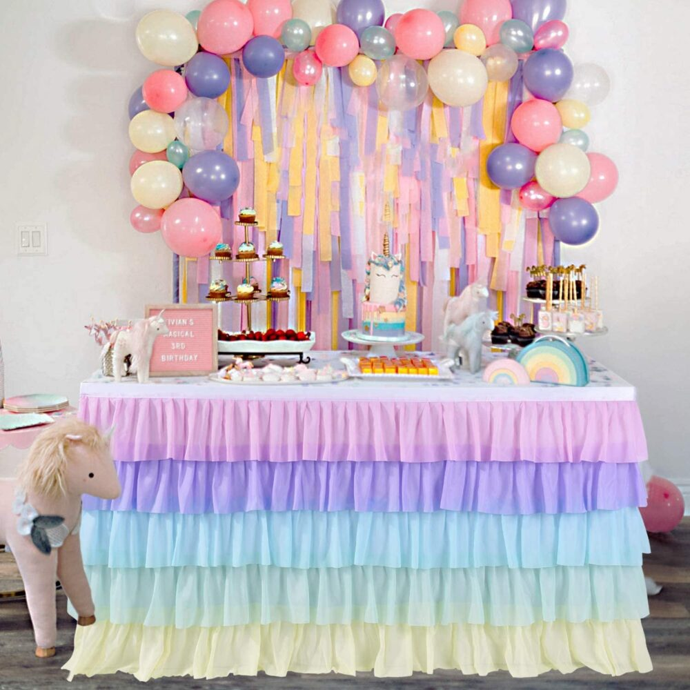 Tulle Table Skirt Rainbow Layered Dress For Cake Dedoration On Baby Shower, Weddings, Banquets, Unicorn Theme Birthday Party | 6 Ft