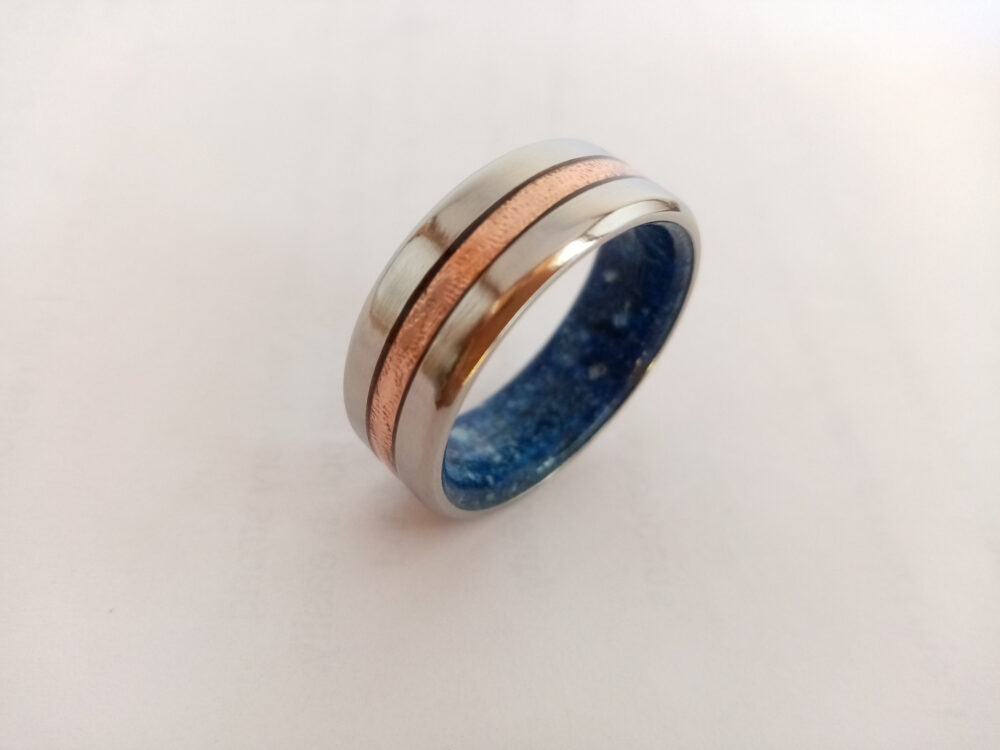 Male Wedding Rings, Lapis Lazuli Stone, Titanium Band, Reticulated Copper, Beveled Edged His & Hers, Raw Blue 9mm