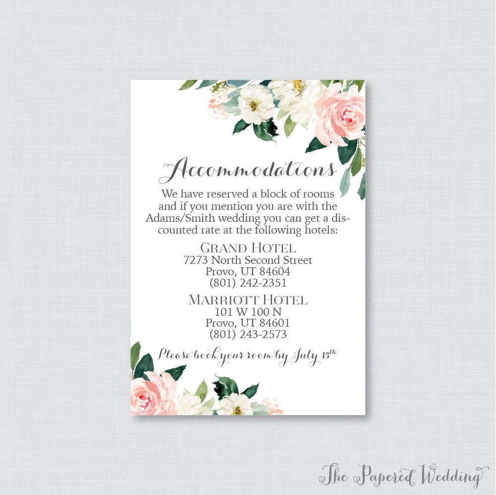 Printable Or Printed Wedding Accommodation Cards - Pink Floral Inserts Rose Flower Details Invitation Insert 0017