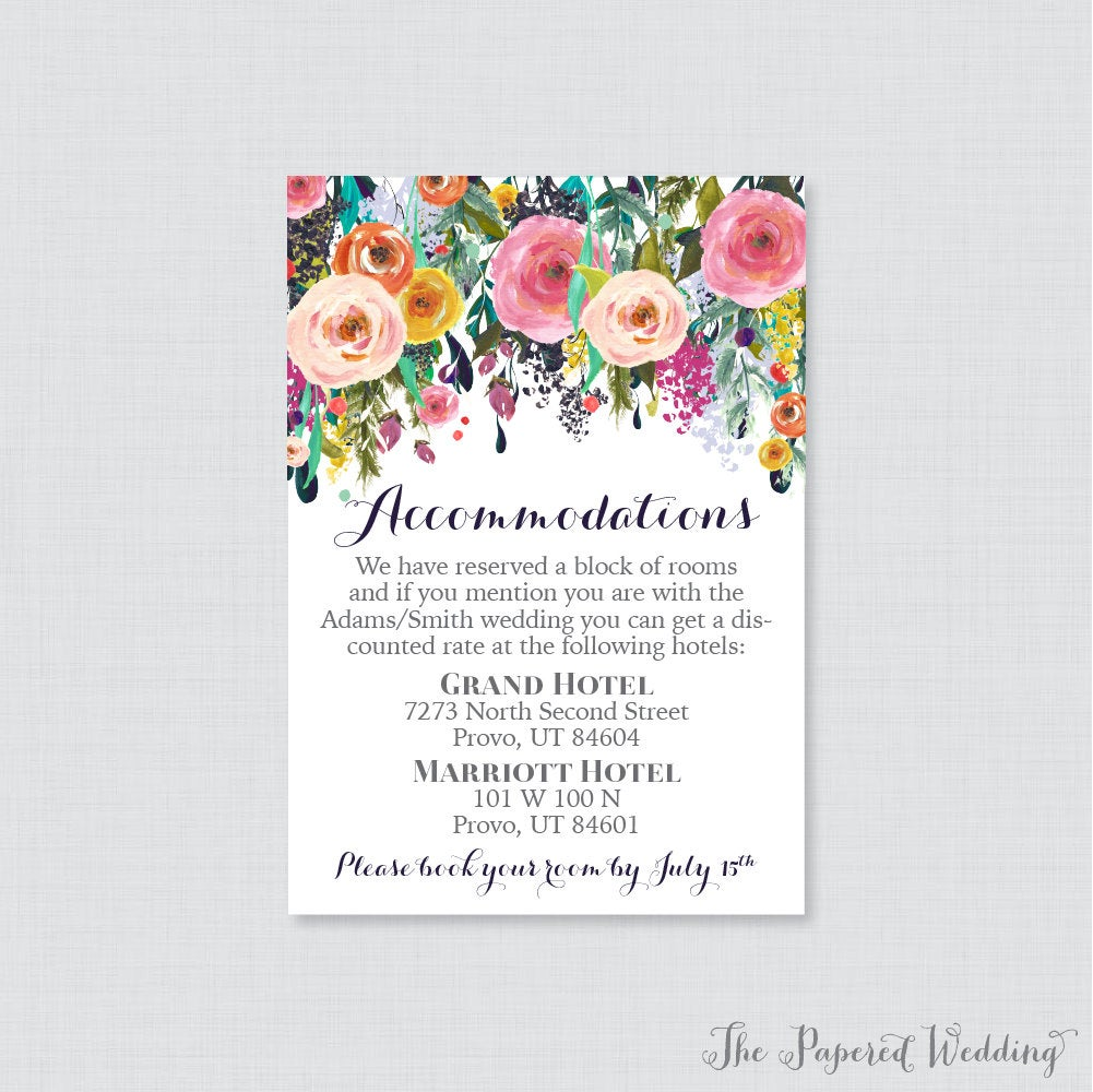 Printable Or Printed Wedding Accommodation Cards - Floral Inserts Colorful Flower Details Invitation Insert 0003-B