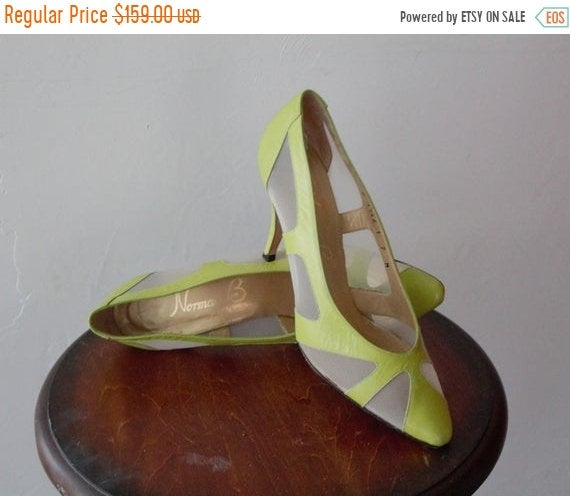 Save 50% Now Gucci Shoes Style Wedding Heels 70S Heel Lime Green Mesh Top 80S Prom Dress Cinderella Leather Pump Shoe 7 M