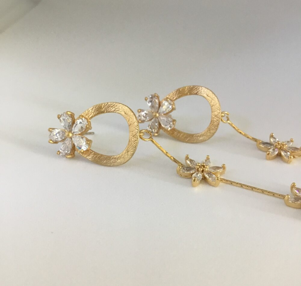 Bridal Jewelry, Wedding Bridal Earrings, Long Flower Crystal Mother Of The Bride Gold Dangle Gift