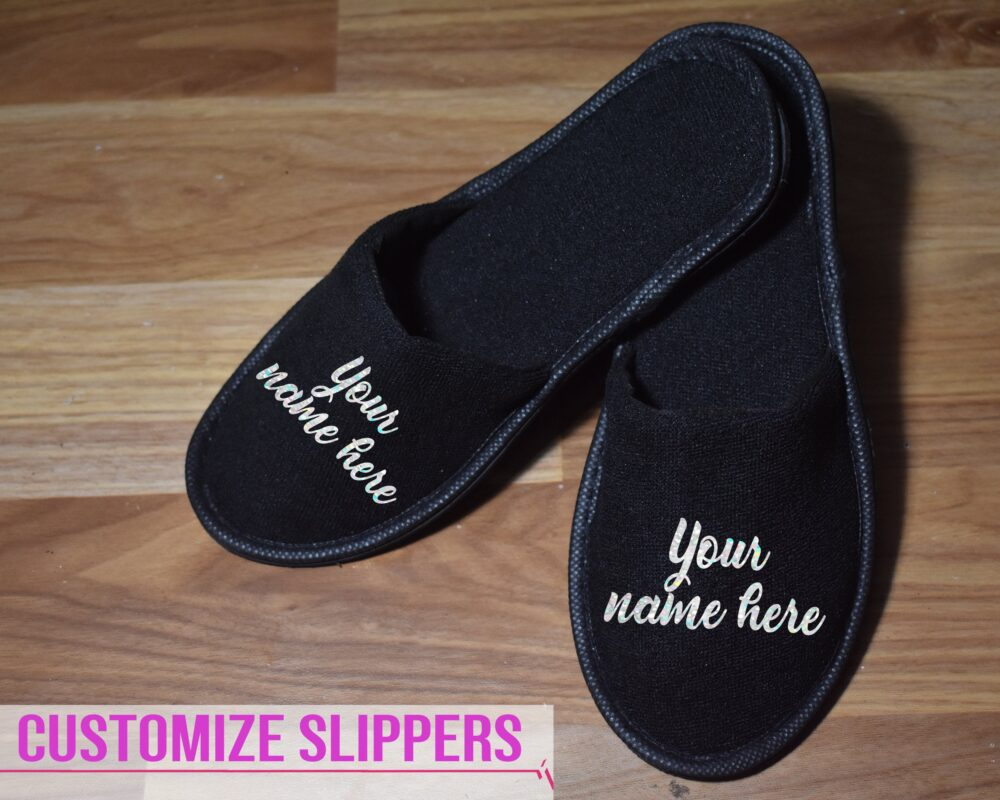 Customized Spa Slippers House Wear Closed Toe White Bride Bridesmaid Gift For Her Wedding