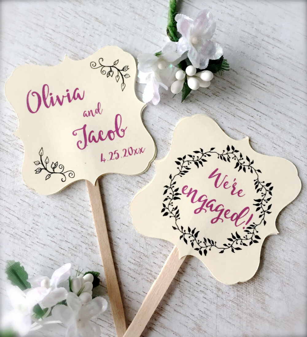 Engagement Cupcake Toppers, Personalized Picks, Decoration, Engagement Party Decor - Set Of 10