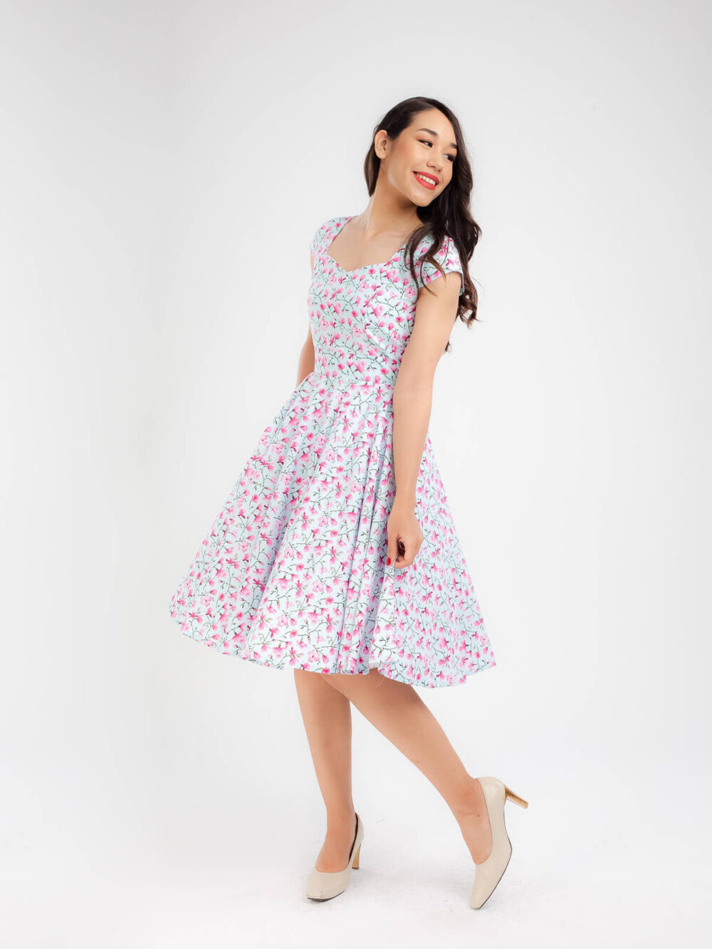 Magnolia Flower Dress 1950S Vintage Spring Floral Bridesmaid Women Summer Swing Prom Pin Up