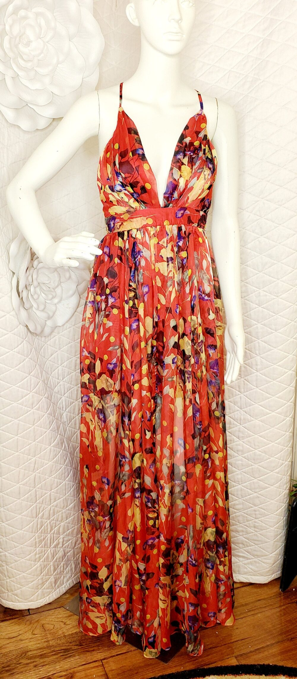 Vintage Special Occasion Dress By Luxxel/ Floral Chiffon Maxi Length Gown