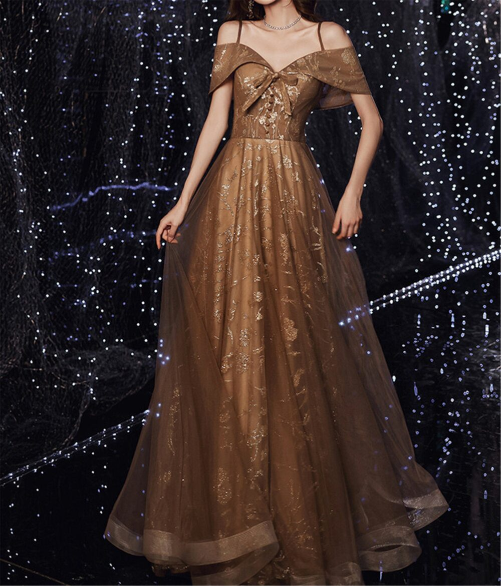 Brown Prom Dress Spaghetti Strap Bridesmaid Sweetheart Formal Event Off-The-Shoulder Quinceanera A-Line Bridal