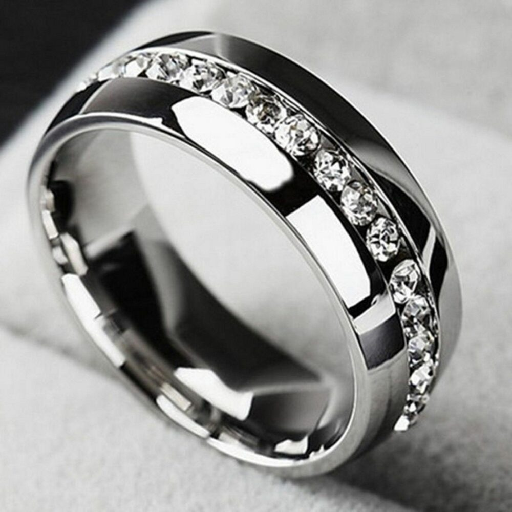 Mens Engagement Diamond Ring Band 14K White Gold Finish 925 Sterling Real Silver