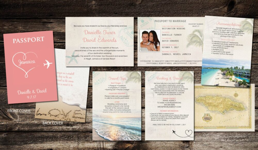 Attractive Coral, Rose Gold Cover Passport Invitations For Your Wedding, Heart With Airplane Design