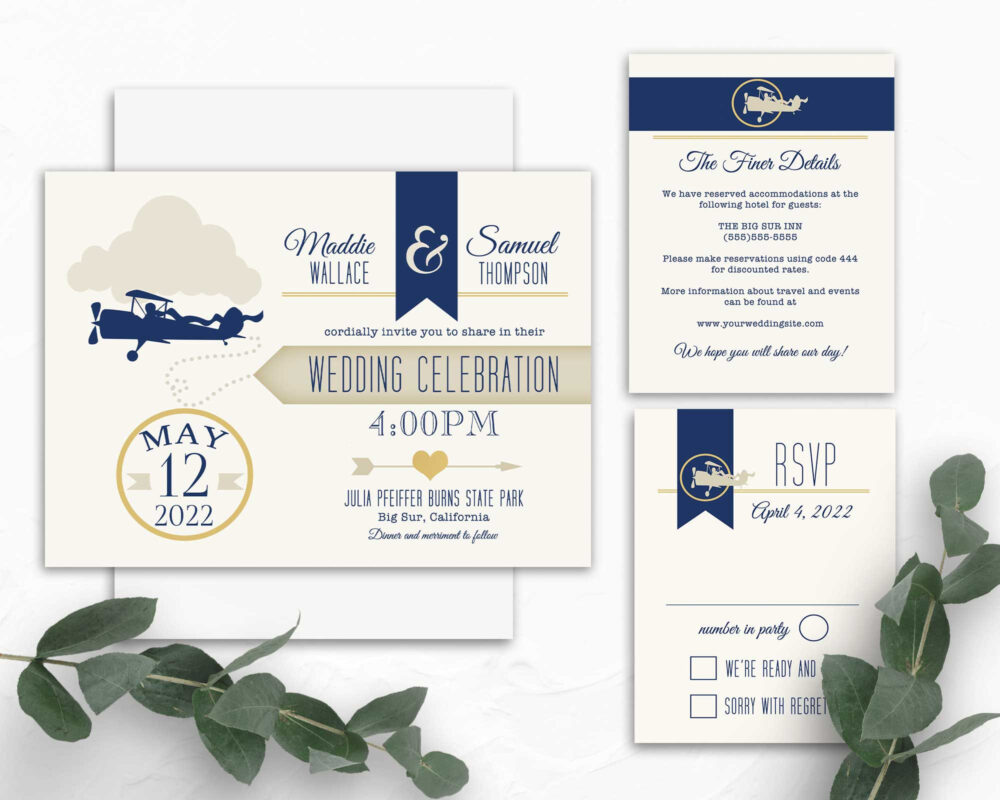 Vintage Plane Wedding Invitation, Template Love Is in The Air, Retro Airplane With Banner Invite Typography Pilots