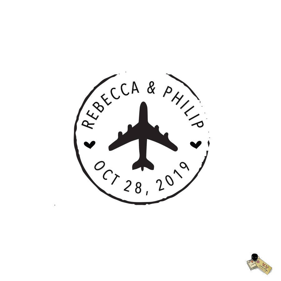 Airplane Wedding Date Stamp Stamp, Passport Travel Envelope Save The Custom Heart Location Names Personalized