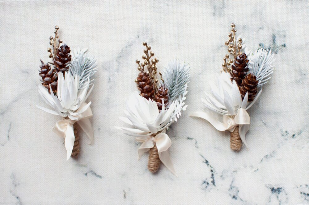Wedding Boutonniere Bridal Groom Rustic Boutonniere For Men Winter White Cone