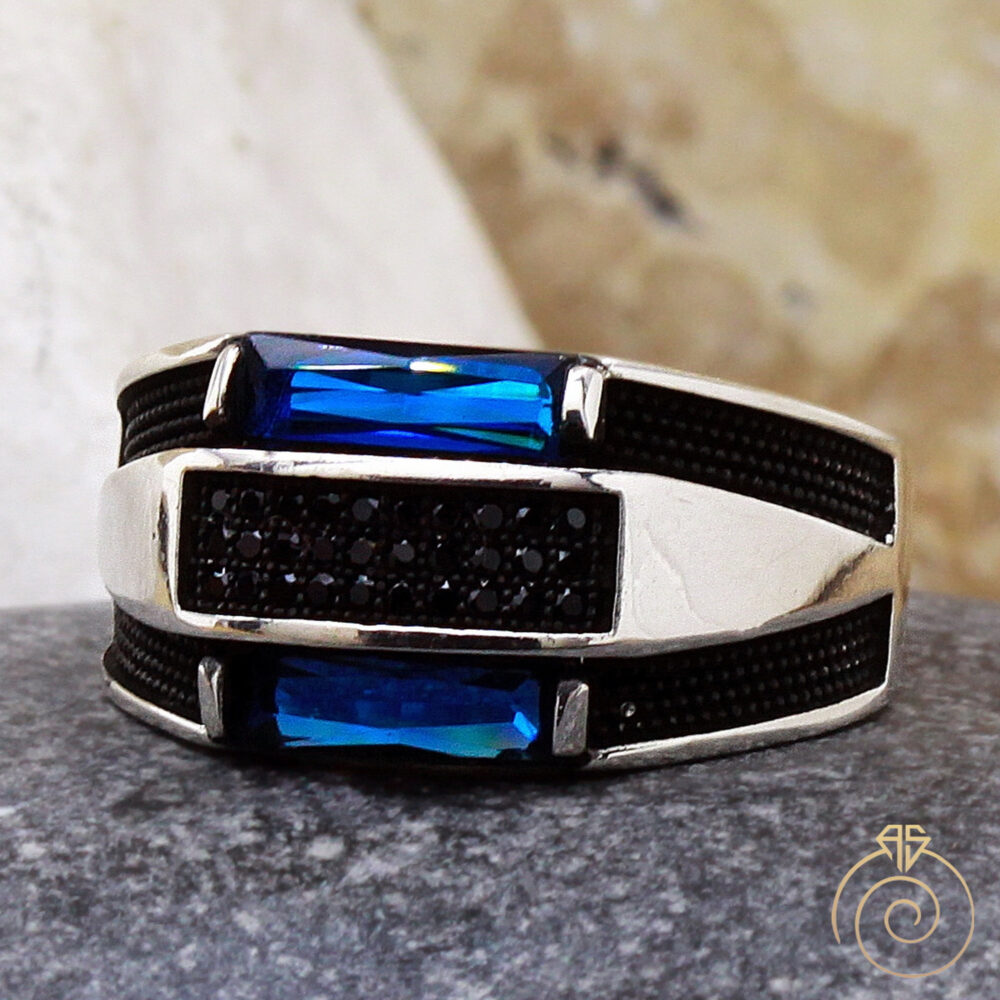 Mens Sapphire Ring, Blue Stone Stunning Silver Engagement Unique Contemporary Wedding Band, Occult Anniversary Ring Pinky Cool Jewelry