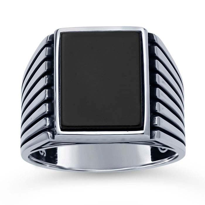 Sterling Silver Mens Onyx Ring, Statement Navy Ring Jewelry, Anchor Rings, Men Wedding Band, Man Ring