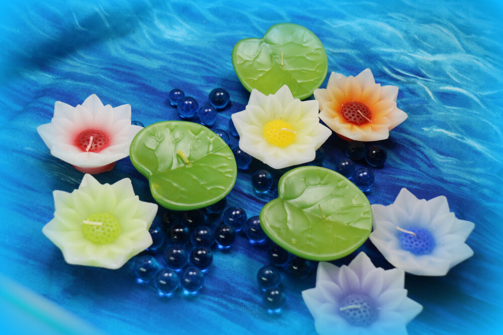 3 Piece Group Vintage Floating Candles - 2 Water Lily Flowers & 1 Lilypad