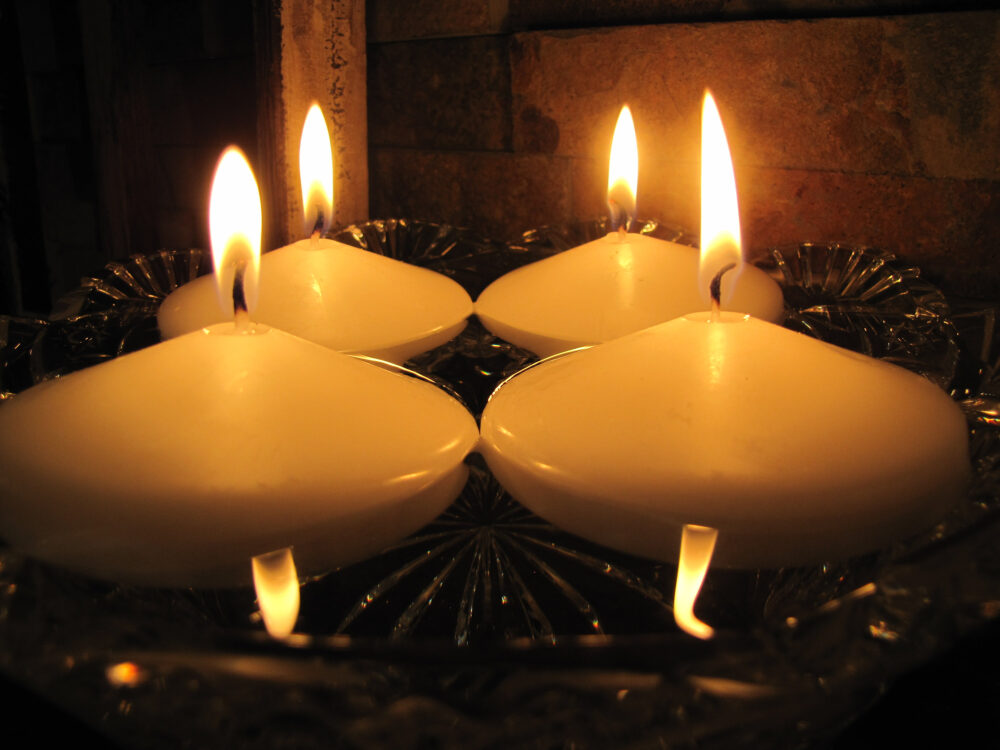 """Floating Candles. Set Of 4. White. Burn Time 15 Hours. 3"""" Løgum Kloster Lys Candles"""