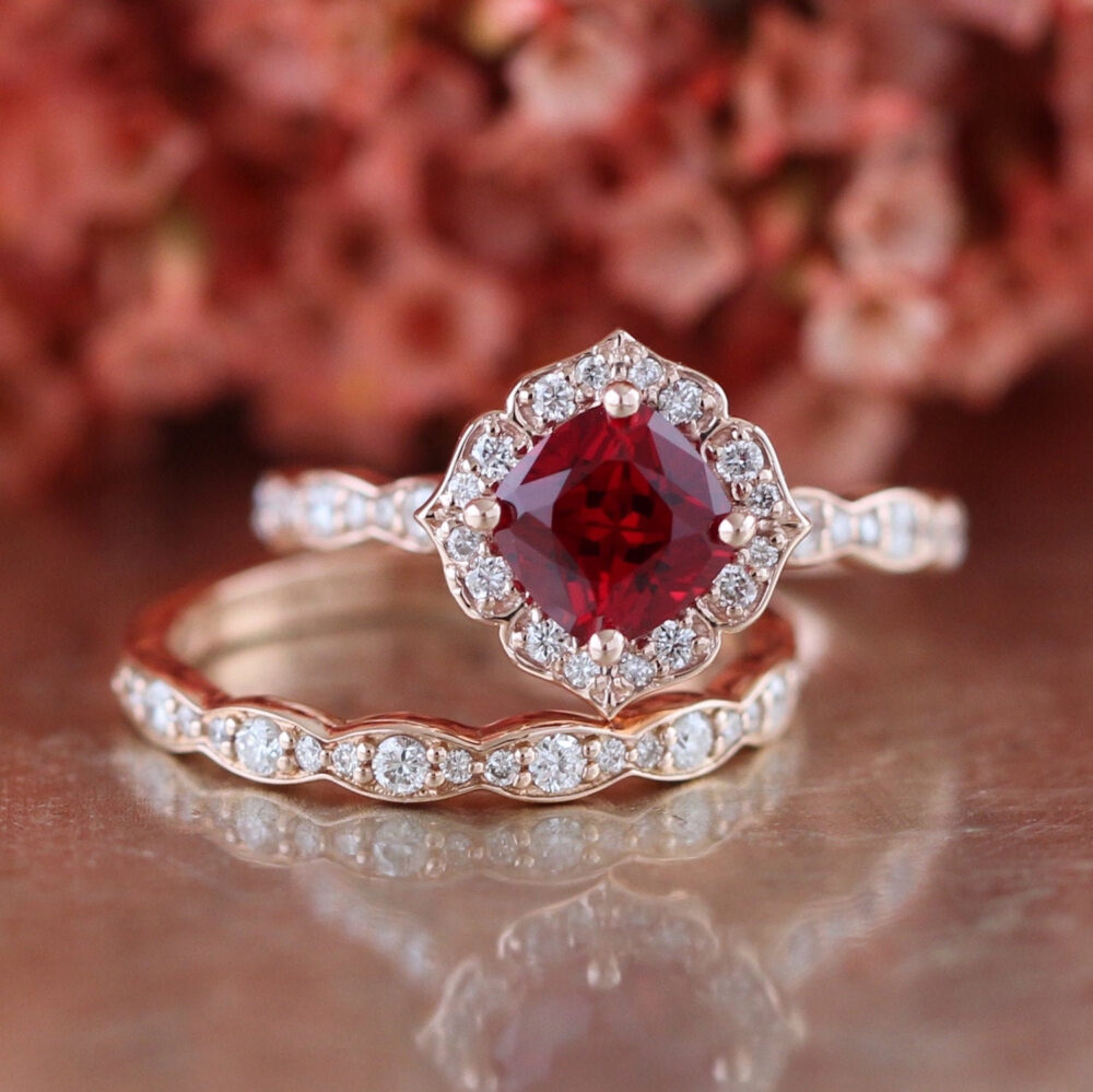 Bridal Set Vintage Floral Ruby Engagement Ring & Scalloped Diamond Wedding Band in 14K Rose Gold 6x6mm Cultured Red July Birthstone