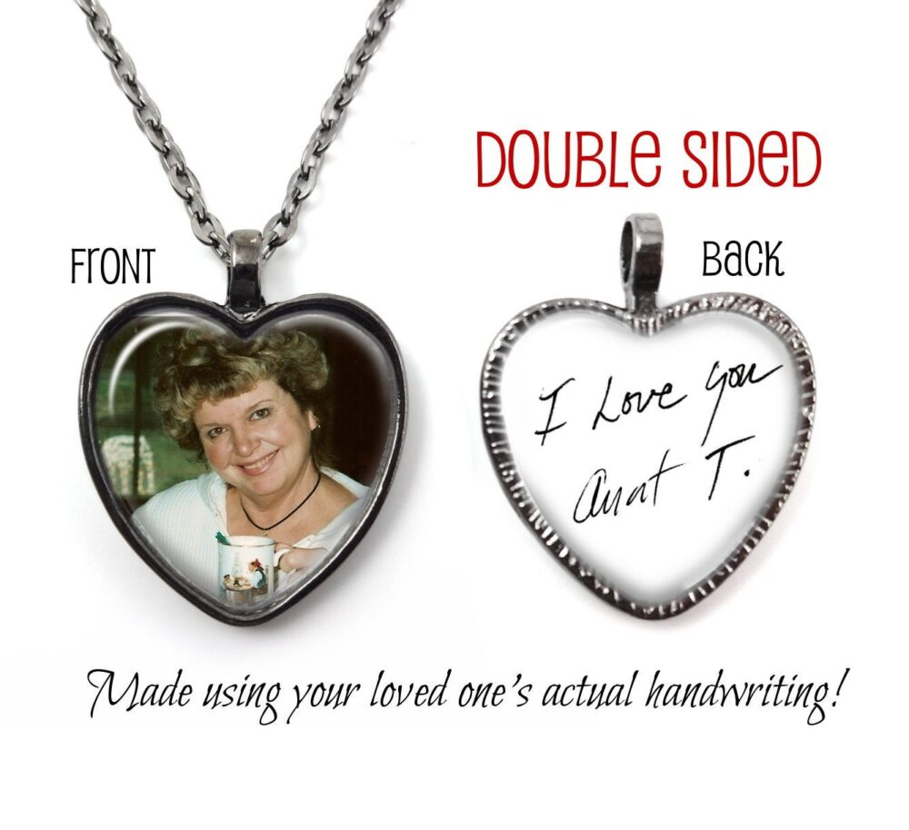 Signature Necklace Personalized Handwriting Heart Pendant - Custom Photo Memorial Jewelry Charm with Loved Ones Writing