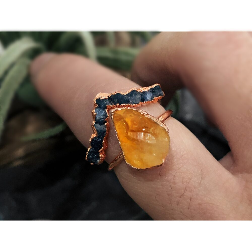 Raw Sapphire Citrine Engagement Ring Set, Gemstone Ring, Stone For Woman, Curved Stacking