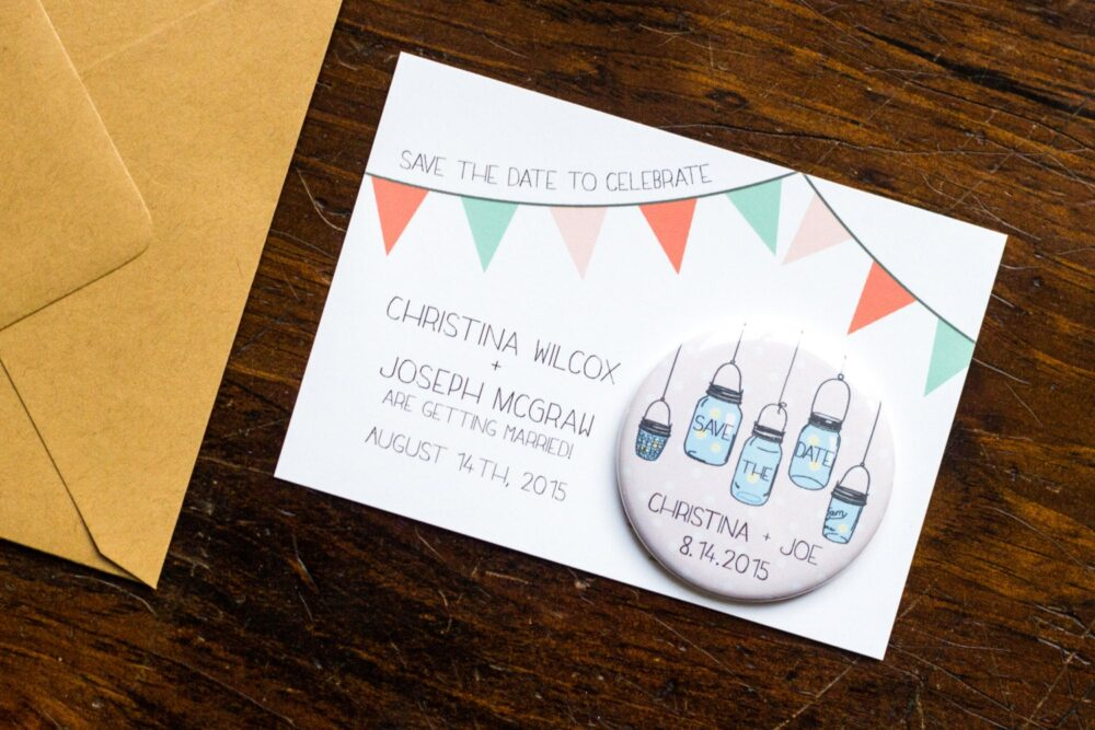 Mason Jar Save The Date Wedding Magnet, Rustic Invitation, Invite, Country Chic, Bunting Pink Polka Dots