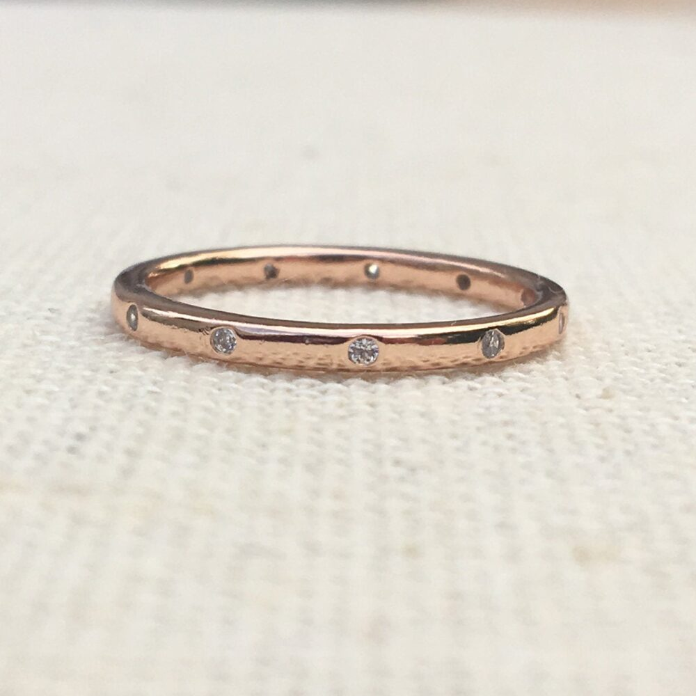 Gold Ring Wedding Band Women's Ring - Eternity C.z Stone Silver, Promise For Her, Unique