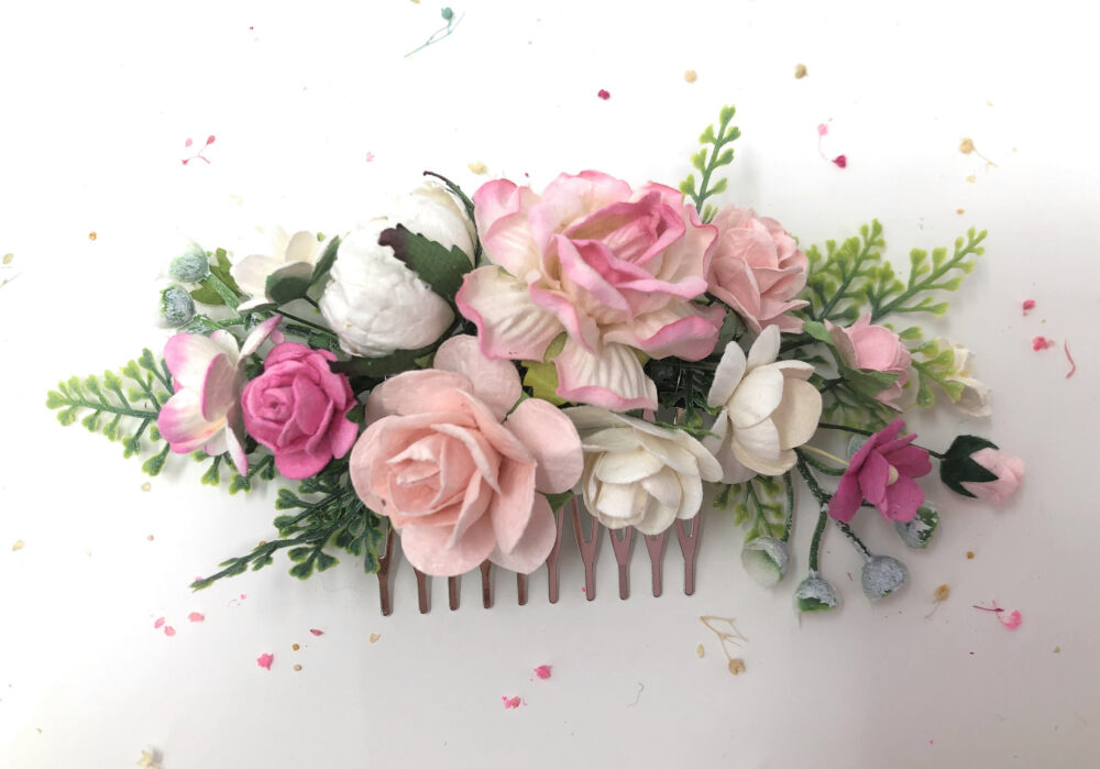 Flower Hair Comb Wedding, Pink Flower Haircomb, Floral Comb, Bridal Accessories, Piece, Rose Hairpiece
