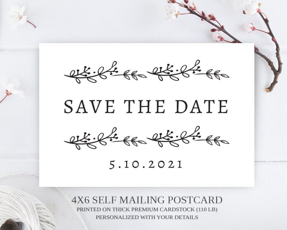 Printed Simple Save The Date Postcard/Rustic Wreath Dates | Wedding Cards