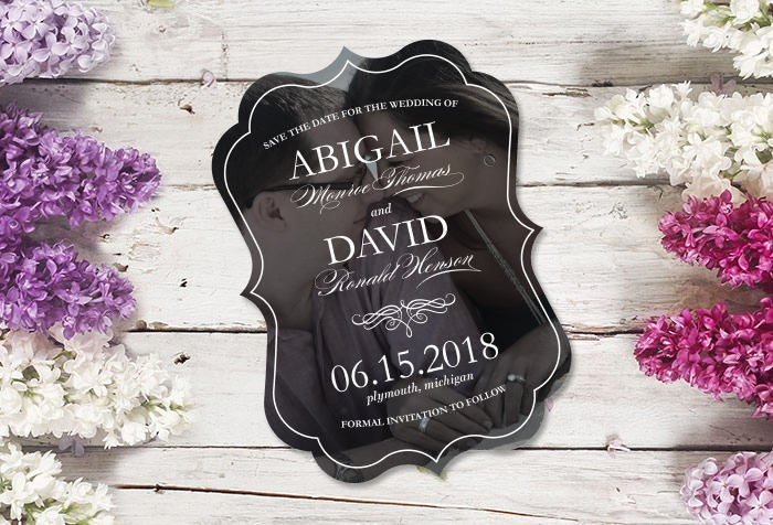 Scalloped Die Cut Save The Date With Photo