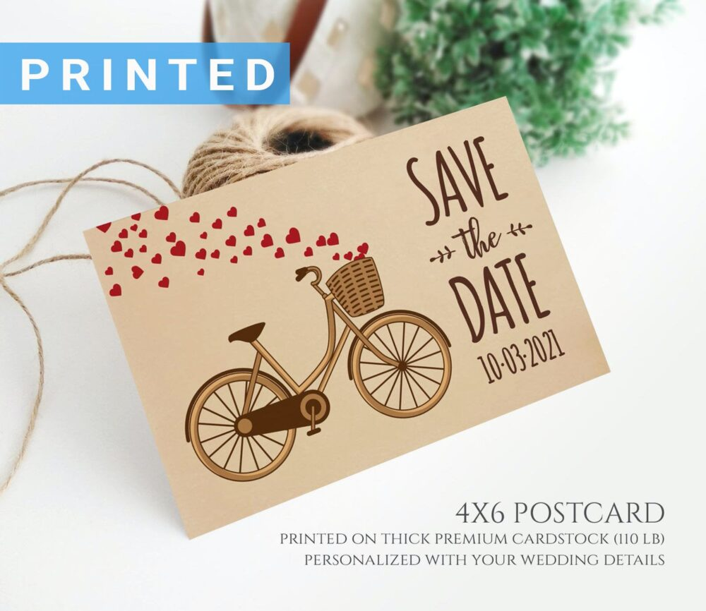 Bicycle Save The Date Postcard Printed On Kraft Cardstock   Simple Rustic Country Wedding Save Date Cards