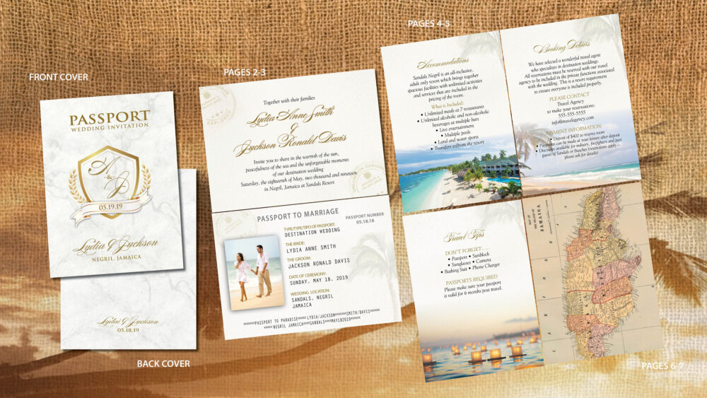 Gold Wedding Passport Invitation Booklets, Marble Background, Classic