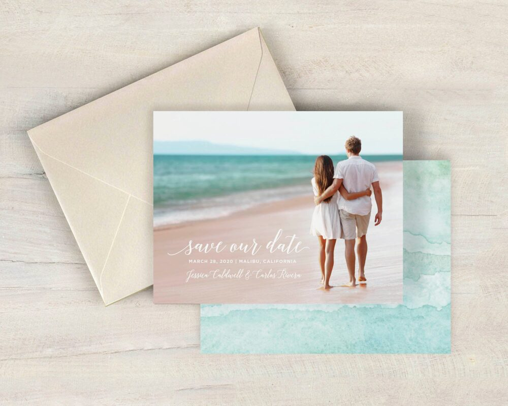 Beach Save The Date, Destination Wedding Date Cards, Aqua Watercolor, Photo Tropical, Printed Cards With Envelopes