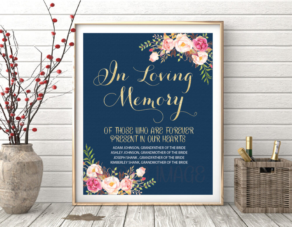 In Loving Memory Sign, Wedding Remembrance Memory Table Wedding Table, Memorial Ws13