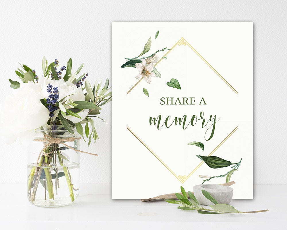Funeral Share A Memory Sign Printable Celebration Of Life Memorial Greenery 8 X 10