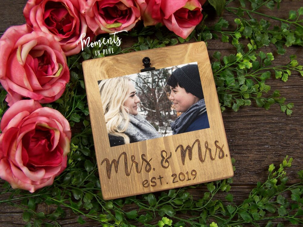 Mrs & Gift, Wedding Picture Frame Personalized Custom Photo Frame, Lgbtq Wedding, Lesbian Gay Gift For Couple
