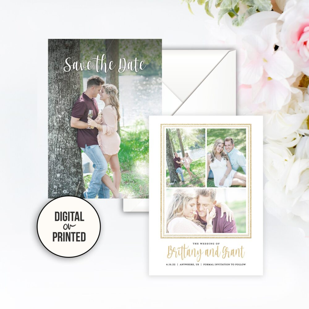 Save The Date Wedding Photo Gold The Glitter Collage Card Magnets Frame Engagement