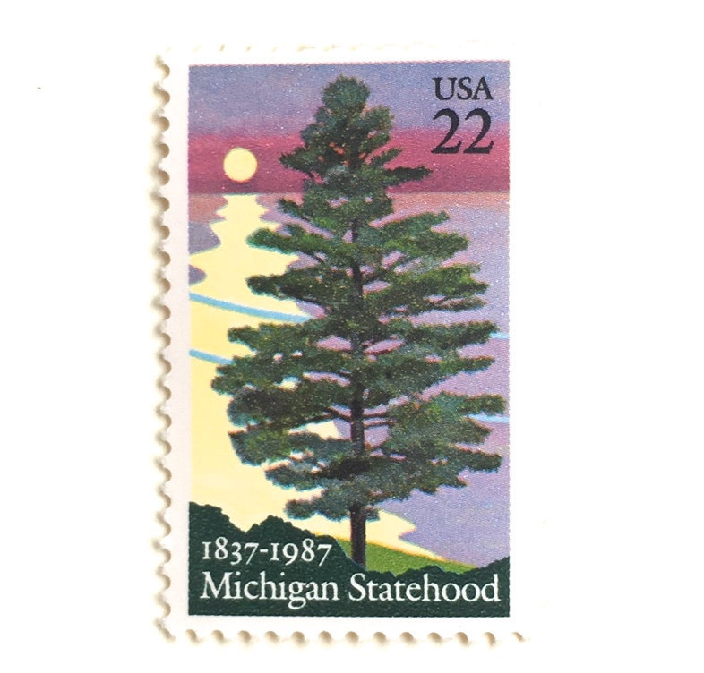 10 Michigan Pine Tree Vintage Postage Stamps // Lilac Lake View With State White For Mailing