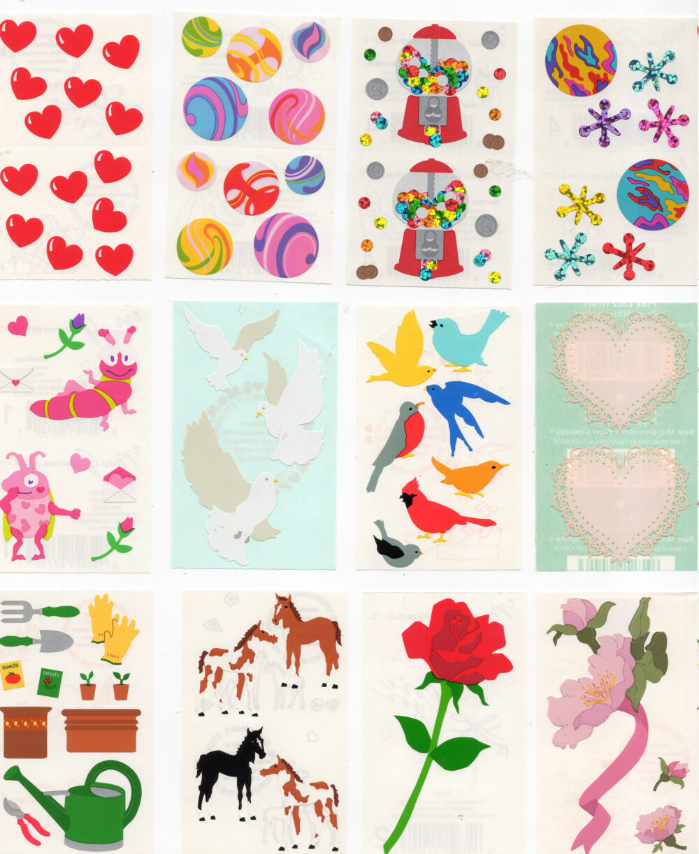 Vintage Mrs Grossman Grossman's Stickers By The Yard- You Choose - Opal Pearl Reflections Foil Mylar-Super Rare Animals & More