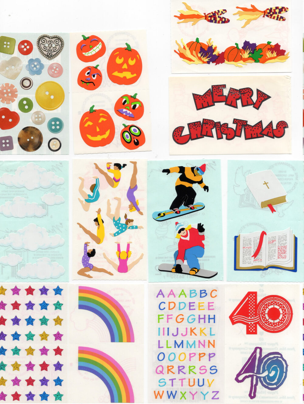 Vintage Mrs Grossman Grossman's Stickers By The Yard- You Choose - Paper Whispers Opal Pearl Reflections 1979 Rainbows Snowboarding More