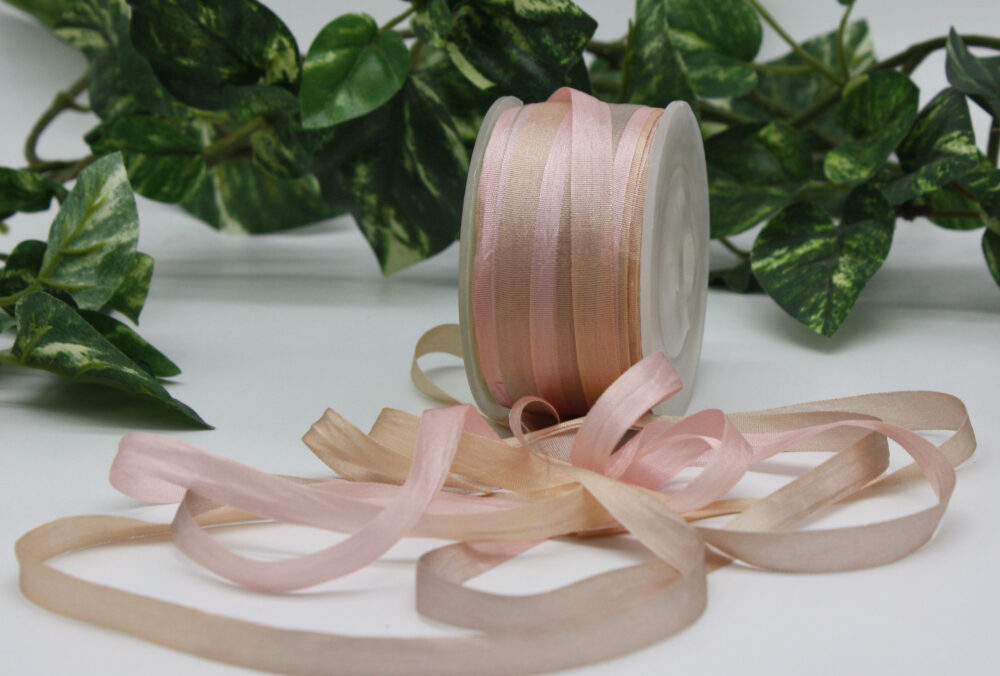 """Pink Champagne Tie Dyed Silk Ribbon 1/4"""" Wide By The Yard"""