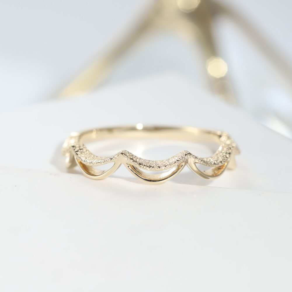 Minimalist Curve Wedding Band Ring Bridal Bands Rose Gold Engagement Rings For Women Stackable