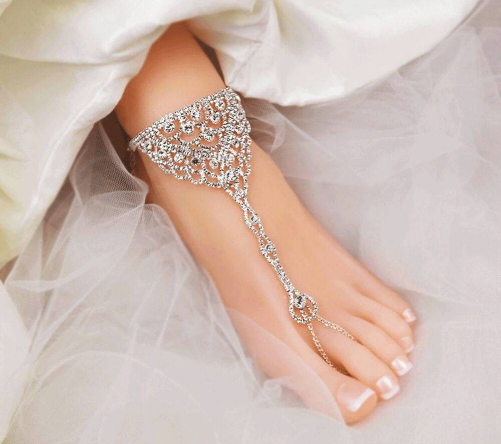 Wedding Barefoot Sandals, Bridal Foot Jewelry, Silver Plated Rhinestone Footless Sandal, Beach Sandals, A Pair-Sd055